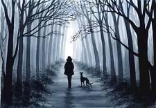 PAINTING GREYHOUND WHIPPET LURCHER 6808 Dianne Heap ART DOG GALGO PRINT TREES