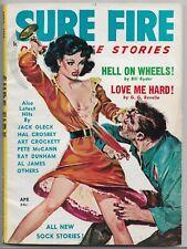 ~SURE FIRE DETECTIVE STORIES - GGA DIGEST PULP~Apr. 1958 Carl Pfeufer cover!