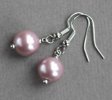 LAVENDER COLOURED SHELL PEARL EARRINGS ~ SILVER PLATED
