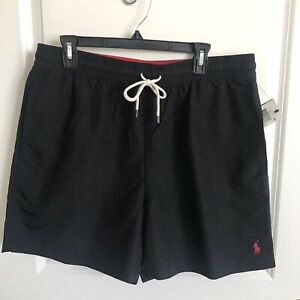 Polo Ralph Lauren mens black with red Pony swim shorts trunks size XL NWT $69