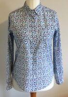 Original Essentials Size 10 Ladies Cotton Blue Check Shirt Top With Floral Print