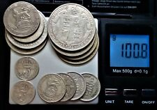 More details for over 100g british silver coins - 1908-1946 - scrap/invest. please see photo's