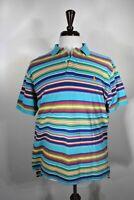 POLO Ralph Lauren Mens Stripes Blue Yellow Red Short Sleeve Shirt L Large EUC