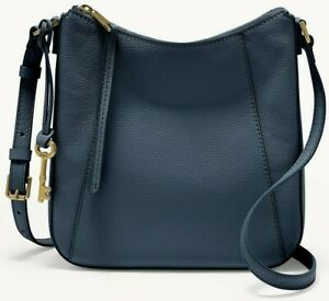 Fossil Talia Crossbody Shoulder Bag Navy Indigo Leather SHB2793744 $178 MSRP FS