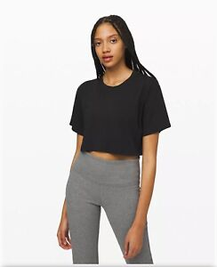Lululemon All Yours Crop Tee size 4 in Black NWT