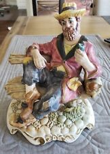 Rare Large Vintage Capodimonte Bum Hobo Vagrant Park Bench Figurine Beer MINT!