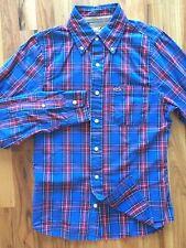 Hollister Mens Button Down Shirt Medium Red Blue Plaid Checkered 100% Cotton
