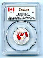 2017 CANADA $5 PCGS SP69 GLOW IN DARK 150TH ANNIV PROUDLY CANADIAN SILVER FDI