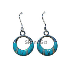 Turquoise Earrings w/ Fire Opal Accents Hoop Round Handcrafted Inlay Earrings