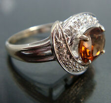 ORIGINAL PRECIOSO Imperial Topacio & Diamante Halo 14k Blanco Anillo de oro