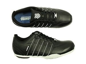 Men's Lace-Up Trainers Black Leather Shoes Casual Sports Gym Walk Rubber K-Swiss