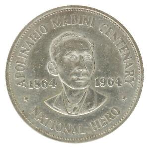 Philippines - Silver 1 Peso Coin - 'Apolinario Mabini' - 1964 - UNC
