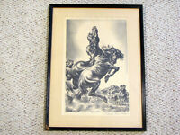 CHARLES BANKS WILSON LITHO PRINT WILD HORSES - MUSTANGS FIGHTING - PENCIL SIGNED