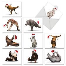 M6547XTG Yuletide Zoo Yoga: 10 Christmas Thank You Note Cards With Envelopes