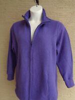 New Just My Size Cotton Blend Fleece Lined Zip Front Mock Neck Jacket 1X Purple