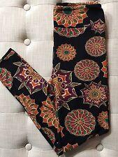 NWT LuLaRoe OS Floral Medallion Leggings UNICORN Orange Black Flowers One Size
