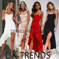 Womens Asymmetric Frill Maxi Dress Strappy Bodycon Slit Mermaid UK Size 6-14