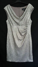 Connected Apparel Gold Pleat Cowl Neck Cocktail Wedding Stretch Shiny Dress 14