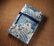 Handmade blue wave fountain pen case pouch multifunctional  bag for 5 pens