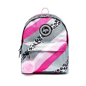 Hype Glitter Leopard Wave School Sports Gym Backpack Rucksack Bag Pink/Silver