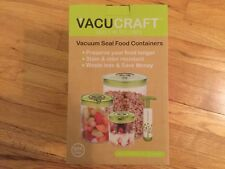 Vacucraft 4-Piece Cylinder Vacuum Food Container Set New