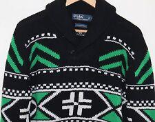 NEW Polo Ralph Lauren - Sz M Indian Art Blanket Merino Shawl Sweater $595 Retail
