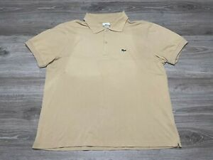 LACOSTE Croc Logo Embroidered Short Sleeve Beige Polo Shirt FR Size 7 US Size XL