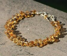 Natural Citrine Brioltte Beaded Bracelet Solid 14k Yellow Gold 13th Anniversary