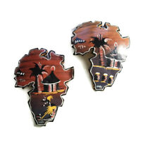 VTG African Art Maps Hand Painted Africa Wall Hanging Signed 70s Gourd Calabash?