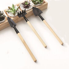 3pcs Set Shovel Rake Spade Wood Handle Metal Head Kids Tool Mini Garden Tools