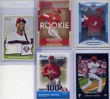 Dominic / Domonic Brown rc Jersey card lot 2008 Bowman Chrome + more