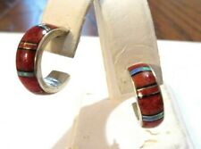 Earrings - Southwest Design/Artist Signed Coral and Opal Inset Hoop