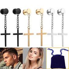 3pairs Fashion Earring Mens Women Cross Dangle Huggie Ear Stud Earring &Gift Bag