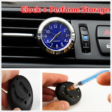 1pc Car Interior A/C Vent Clip Clock Gauge Perfume Refill Storage Blue Backlight
