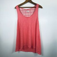 Lucky Brand Women's Pink Coral Flowy Tank Top Large L