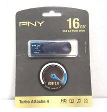 PNY - Turbo Attache 4 16GB USB 3.0 Flash Drive - Blue