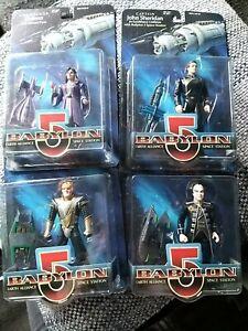 Babylon 5 Action Figures Sheridan Delenn Londo G'Kar. 1997 boxed sealed
