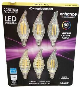(6) Feit Electric  LED Dimmable Clear Chandelier E12 Bulbs 3.3 w 90 Cri Clear