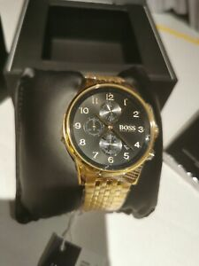 HUGO BOSS HB1513531 NAVIGATOR BLACK & GOLD MEN'S CHRONOGRAPH WATCH.