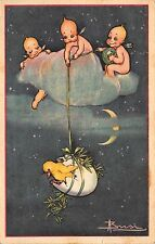 Busi Artwork Postcard Kewpie Cherubs in Cloud Pulling Chick & Egg Up~112638
