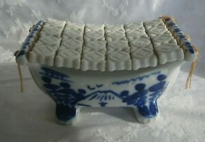 Antique/Vintage Chinese White And Blue Porcelain Pillow Rare
