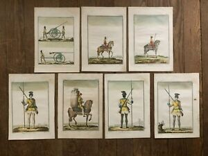 7 Orig 18th Century hand-colored Engravings French Military Uniforms P F Tardieu