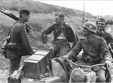 B&W WW2 Photo WWII German Sniper Motorcycle Troops K98k World War Two Wehrmacht