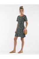 NWT $79 All About Eve Daria Mini Dress Green Ditsy Floral Fit and Flare Size 10