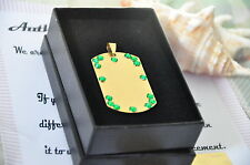 24K Gold Plated Dog Tag Stainless Steel Diamante Rhinestone Crystal Decorated