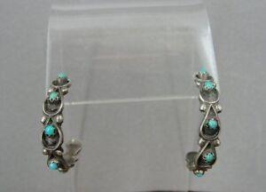 Vintage Turquoise Half Hoop Sterling Silver Pierced EARRINGS