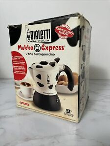 Bialetti Mukka Express 2 Cup Cow Print Stovetop Cappuccino Maker Black & White