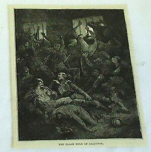 1878 magazine engraving~ THE BLACK HOLE OF CALCUTTA, India Prison