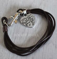 'Mother & Daughter Forever' Heart Leather Bracelet Ladies Mums Girls Gift Brown