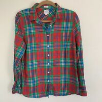 J. Crew Red Green Plaid Flannel Cotton Button Up Long Sleeve Shirt M $78